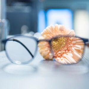 Bril met bloem scherp zien